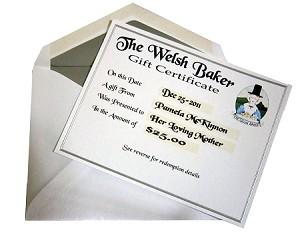 welsh baker paper gift certificate