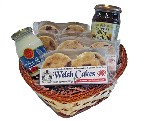 Four Yummies with Jam and Devon Cream in a Large Heart Shaped Gift Basket!